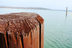 Pile pier jetty. Blue water Stock Images