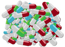 Pile of pills. Colorful pills of various kinds in one big pile Royalty Free Stock Photos