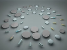 A pile of pills and tablets. On the floor Royalty Free Stock Images