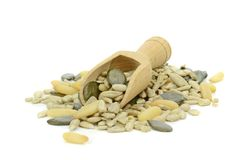 A pile of pine nuts, sunflower and pumpkin seeds Royalty Free Stock Photos