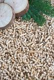 Pine pellets and biomass. Pile of pine pellets and biomass they made of stock images
