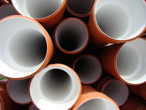 Pile of pipes. Pile of drainage pipes in construction site Stock Photography
