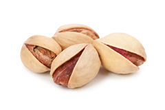 Pile of pistachios isolated on white background Stock Photos