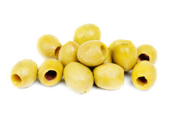 Pile  pitted olives on the white. Pile  pitted olives  on the white background Royalty Free Stock Images