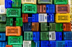 Pile of plastic boxes Royalty Free Stock Photo