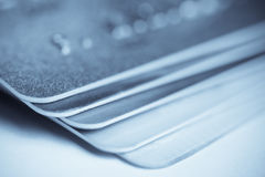 Pile of plastic card. Macro shot Royalty Free Stock Image