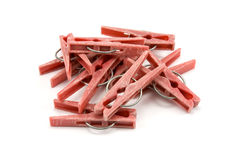 Pile of plastic clothes pegs Stock Photography