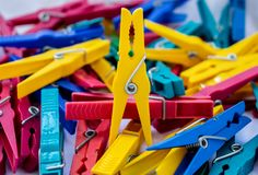Pile Of Plastic Clothespin royalty free stock image
