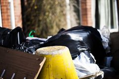 Pile of plastic garbage bags on the truck. Pile of trash on the truck. Pile of plastic garbage bags on the truck. Pile of trash on the truck royalty free stock images