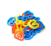 Pile of plastic letter forms isolated Stock Photography