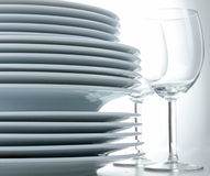 Pile of plate and glass Royalty Free Stock Photography