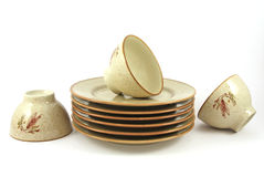 Pile of plates and of bowls Stock Photography