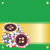 Pile of playing chips on a green background.eps8 Stock Images