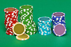 Pile of playing chips Royalty Free Stock Images