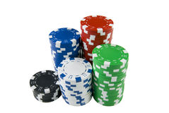 Pile of poker chips. A pile of diffrent poker chips Stock Photos