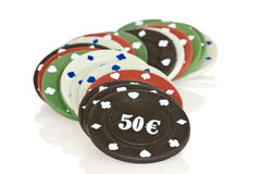 Pile of poker chips Stock Images