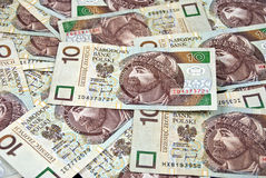Pile of polish money Stock Images
