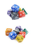 Pile of polyhedral dices isolated Stock Photo