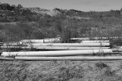 Pile of polypipe on a building site Royalty Free Stock Photos