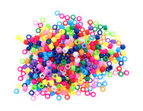 Pile of pony beads on a white background Royalty Free Stock Photo