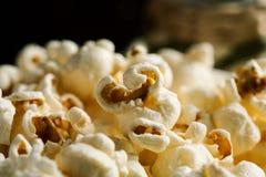 Pile of popcorn closeup macro shot, selective focus.  stock photography