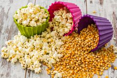 Pile of Popcorn in Colorful Bowls Stock Photo
