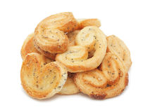 Pile of poppy seed cookies stacked, isolated Royalty Free Stock Photo