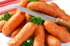 Pile of pork sausages Royalty Free Stock Photo