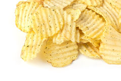 Pile of potato chips. Isolated on white background Royalty Free Stock Photos