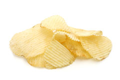 Pile of potato chips. In isolated white background Stock Photos
