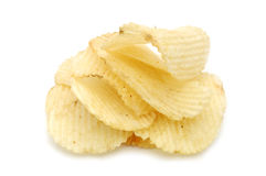 Pile of potato chips. In isolated white background Royalty Free Stock Image