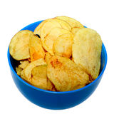 Pile of potato chips. On white background Royalty Free Stock Photos