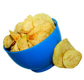Pile of potato chips. On white background Royalty Free Stock Photography