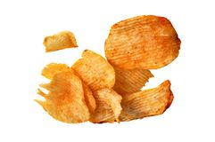 Pile potato chips. Camera shot on pile potato chips with white background Royalty Free Stock Photos