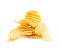 Pile of potato chips isolated Royalty Free Stock Photos