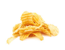 Pile of potato chips isolated Stock Image