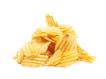 Pile of potato chips isolated Stock Photo