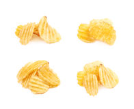 Pile of potato chips isolated Royalty Free Stock Image