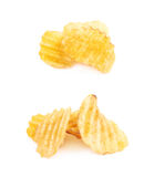 Pile of potato chips isolated Stock Images