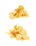 Pile of potato chips isolated Royalty Free Stock Images