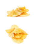 Pile of potato chips isolated Royalty Free Stock Photo