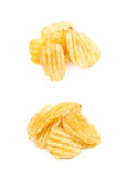 Pile of potato chips isolated Royalty Free Stock Photography