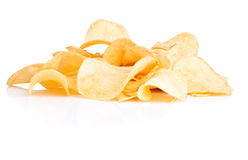 Pile of potato chips isolated on white Stock Photos
