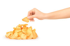 Pile of potato chips Stock Photography