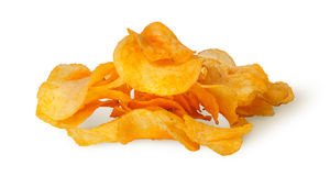 Pile of potato chips. Isolated on white background Royalty Free Stock Photo