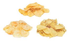 Pile of potato chips. Isolated on white background Stock Photography