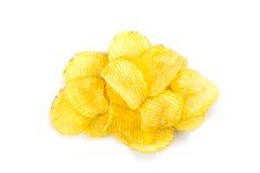 Pile of potato chips. On white background Stock Photos