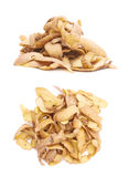 Pile of potato peels isolated Stock Images