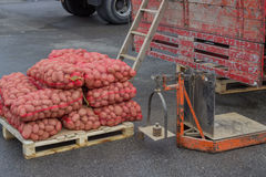Pile of potatoes in the bags and old accurate scale Royalty Free Stock Photography