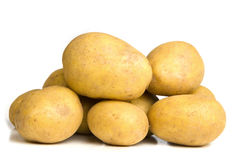 Pile of potatoes isolated on white Stock Photos